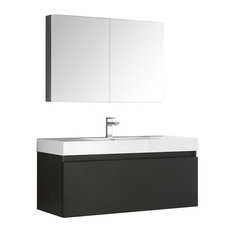 "Fresca - Mezzo 48"" Black Modern Bathroom Vanity With Medicine Cabinet - Utility Sink Faucets"