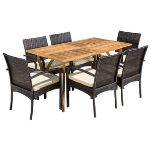 Miraculous Deandra 5 Piece Outdoor Wood Dining With Cushions Set Machost Co Dining Chair Design Ideas Machostcouk