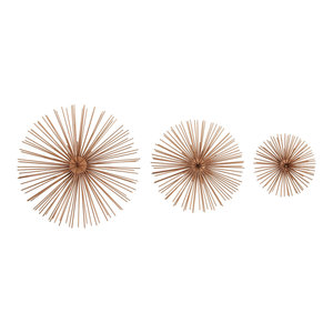 3D Round Copper Metal Starburst Wall Decor Sculptures, Set of 3: 6