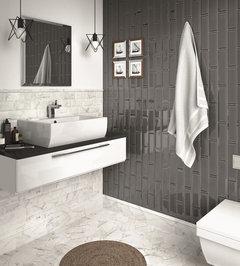 same tile used for shower walls & bathroom floor
