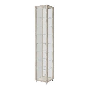 Vitrine Display Cabinet With LED, 1 Door, 7 Shelves, Oak
