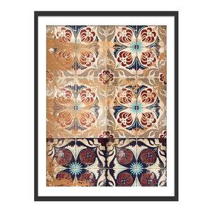 """Moroccan Tiles"" Geometric Art Print, Black Framed, 40x50 cm"