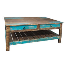 Rustic Distressed Solid Wood Coffee Table With Drawers