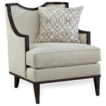 """A.R.T. Furniture - A.R.T. Home Furnishings Harper Ivory Matching Chair - Clean and classic, the Harper Ivory Matching Chair echoes the lines of the Harper Ivory Sofa and brings together elements of both contemporary and traditional design: square tapered wood legs, exposed wood frame, curved arms, and a reverse half moon cut out on the back. The chair's comfort is 100 percent modern: tailored upholstery on the back and deck and a down-blend seat T-cushion, plus a 20"""" x 20"""" down blend throw. In addition to the matching chair, the Harper Ivory collection includes a sofa."""