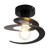 Modern ceiling lamp with black spiral shade - Scroll