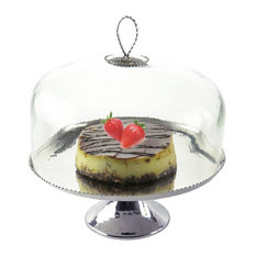 Beaded Round Cake Stand with Glass Dome Cover, 12""