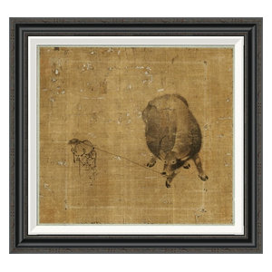 Small Boy Struggling To Lead A Water Buffalo Canvas Giclee 16 X15 Southwestern Prints And Posters By Global Gallery