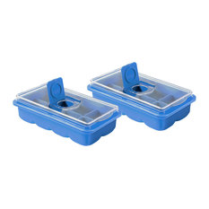 No Spill Extra Large Ice Cube Tray Set of 2 - Covered Lid Design - Blue