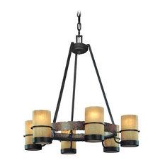 Bamboo, 6 Light Chandelier, Bamboo Bronze, Natural Slate Finish, Bamboo Glass