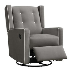 Baby Relax Mikayla Fabric Upholstered Swivel Gliding Recliner in Dark Gray