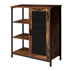 Retro Industrial Storage Cabinet, Unique Door and 3 Open Side Shelves