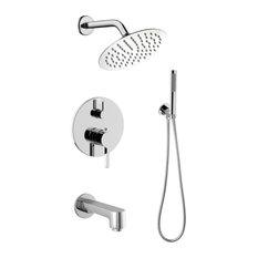 Salamonio Stainless Steel Round Shower Set, Chrome