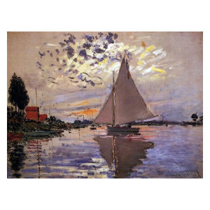 Claude Oscar Monet A Sailboat at Le Petit-Gennevilliers Gallery Wrapped Canvas