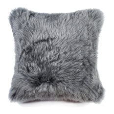 "Natural 100% Sheepskin New Zealand Pillow, Grey, 18""x18"""