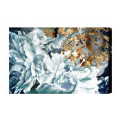 "Oliver Gal ""Dos Gardenias Light Turquoise"" Canvas Art, 45""x30"""