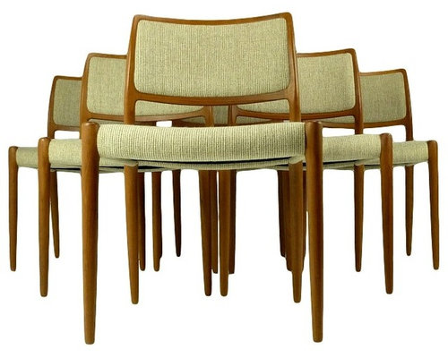 Set Of 6 Teak Moller Chairs Model 80