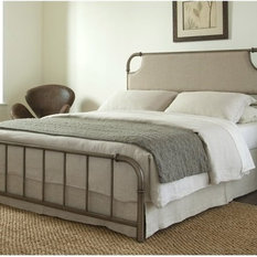Dahlia Snap Bed With Upholstered Headboard, Aged Iron, Queen