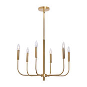 "MOTINI 6 - Light Chandelier, Brushed Brass, 24""x24""x18"""