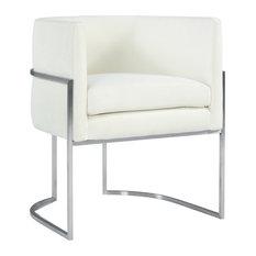 Giselle Cream Velvet Dining Chair Silver Leg