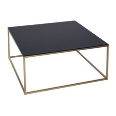 Kensal Black Square Coffee Table, Brass Base