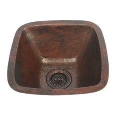 """17"""" Square Copper Kitchen Bar Prep Sink with 3.5"""" Strainer Drain Included"""