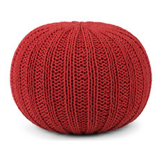 Shelby Transitional Round Hand Knit Pouf, Candy Red