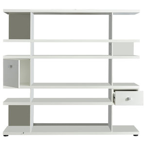 Line Bookcase With Drawer and Cupboard, White