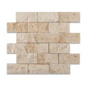 "Ivory, Light Travertine Split Face Mosaic Tile, 12""x12"" Sheets, Set of 5"