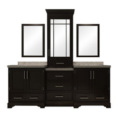 "ARIEL Stafford 85"" Double Sink Bathroom Vanity Set in Espresso"