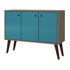 Mid Century - Modern Buffet Stand in Oak and Aqua