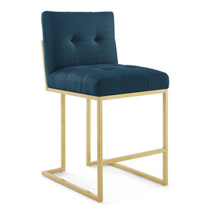 Privy Gold Stainless Steel Upholstered Fabric Counter Stool, Gold Azure