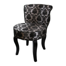 """31""""H French Black/Gray Damask Accent Chair"""