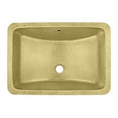 """Thompson Traders BRU-2115H Brass 21"""" Rectangular Brass Undermount Bathroom Sink"""