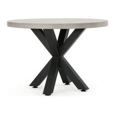 Julia Modern Lightweight Concrete Circular Dining Table with Cross Base