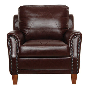 Horace Leather Club Chair Transitional Armchairs And