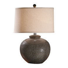 Crestview Collection - Hammered Ceramic Pot Table Lamp - Table Lamps