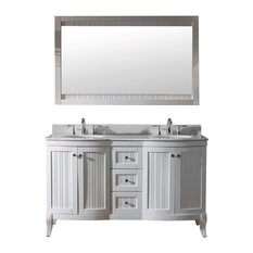 "Khaleesi 60"" Double Bathroom Vanity Set, White"