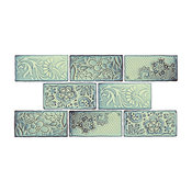 "3""x6"" Antiguo Feelings Ceramic Wall Tiles, Set of 8, Aqua Marina"