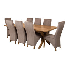 Vermont Oak Extending Dining Table With 8 Lola Chairs, Grey Velvet Effect