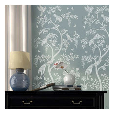 Birds and Berries Chinoiserie Wall Mural Stencil, DIY Asian Garden Decor, Small