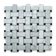 "12""x12"" Carrara White Basketweave Mosaic, Black Dots Polished, Chip Size: 1""x2"""