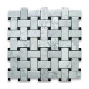 """12""""x12"""" Carrara White Basketweave Mosaic, Black Dots Polished, Chip Size: 1""""x2"""""""