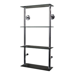 Maxwell Wall Mounted Glass 90-CD/60-DVD Shelf, Black and Silver