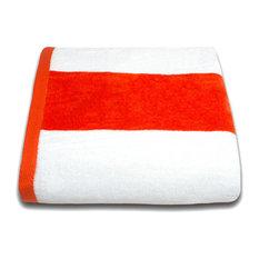 Tropical Cabana 100% Cotton Beach Towel, Orange