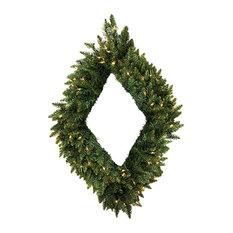 "Pre-Lit Camdon Fir Diamond Shaped Artificial Christmas Wreath, Clear Lights, 42"""