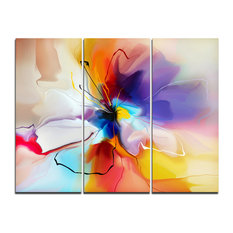 """""""Creative Flower in Multiple Colors"""" Wall Art, 3 Panels, 36""""x28"""""""