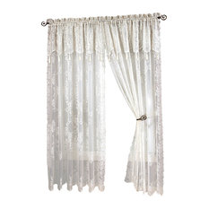 """Carly Lace Curtain Panel With Attached Valance With Tassels, White, 84"""" Long"""