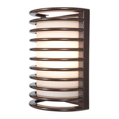 """Bermuda Outdoor Bulkhead Wall-Light, 11"""", Ribbed Frosted Glass Shade, Bronze"""