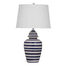 Bassett Mirrors Davis Table Lamp In Blue Stripe   Table Lamps