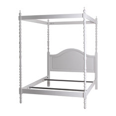 Regal Four Poster Bed with Canopy, White, King